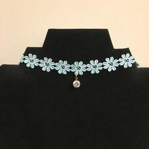 5/$25 ** Blue flowers lace choker w crystal charm